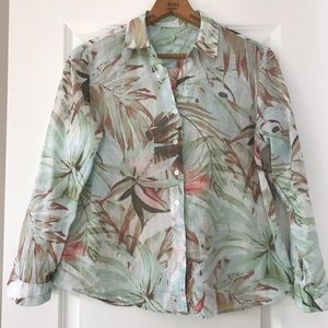 Chico's tropical print blouse w roll up tabs